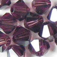 Swarovski Crystal Bicone 5301 6mm AMETHYST SATIN Beads (Amethyst Swarovski Bicone)
