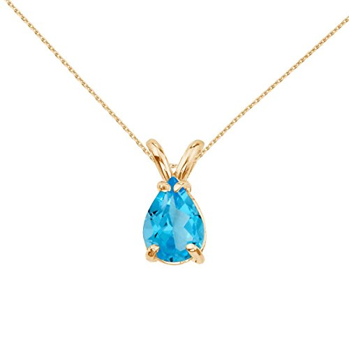 - FB Jewels Solid 14k Yellow Gold Genuine Birthstone Pear Shaped Blue Topaz Pendant (1.7 Cttw.)