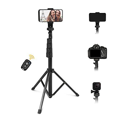 67 Inch Cell Phone and Camera Extendable Selfies Stick, Tripod Stand with Wireless Bluetooth Remote Shutter Compatible with 2.2-3.5 Inch, Heavy Duty Aluminum, Lightweight Cupohus