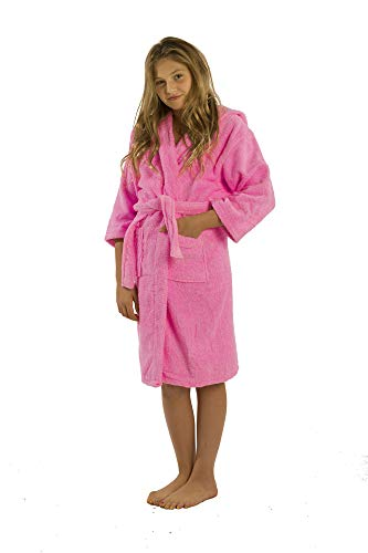 (Terry Hooded Robes Kids, Bathrobes spa and Pool, X-Large, Pink)