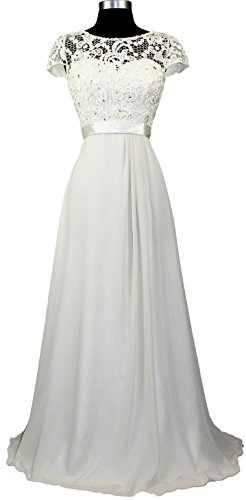 1922Ivory Dress Rhinestoned Women's Evening Bride Meier Embroidery Short Mother Sleeve of vBwAqf