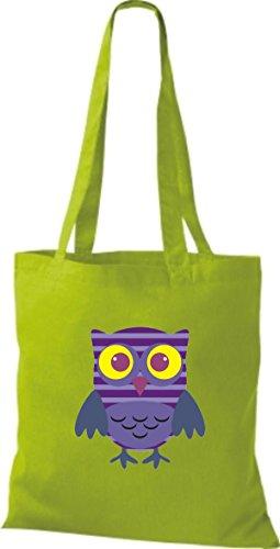 ShirtInStyle Jute Stoffbeutel Bunte Eule niedliche Tragetasche mit Punkte Karos streifen Owl Retro diverse Farbe, schwarz lime