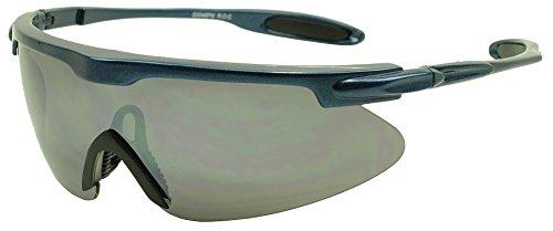 Around Wrap Navy Blue (Mens Sport Full Shield Color Mirrored Lens Wrap Around Sunglasses (Navy Blue/Black Lens))