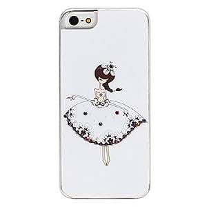 Caja dura blanca falda de la muchacha patrón para el iphone 5/5s