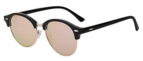 Mujer posterior bastidor de medio plata de redonda Tonos remache de clásico gafas gafas Hombre metálico diseñador de gafas unisex TIANLIANG04 sol polarizadas sol mirror pink de lentes espejo marca qz0wUHH4