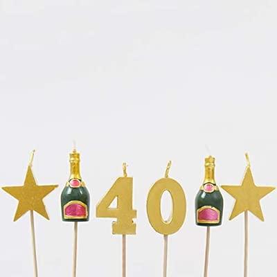 Smiling Faces Velas de Pastel de cumpleaños de hito - 40th