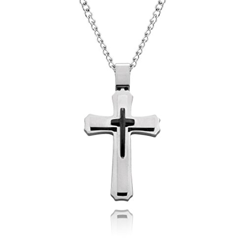 Cross Necklace for Men & Women with Large Pendant and 24 Inch Chain (Silver & Black Tone)]()