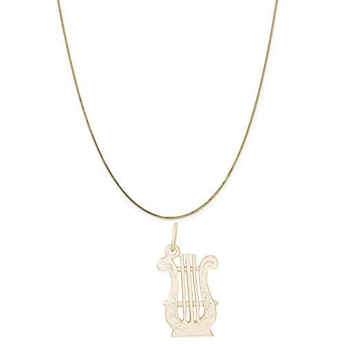 Rembrandt Charms 14K Yellow Gold Lyre Charm on a 14K Yellow Gold Box Chain Necklace, 16