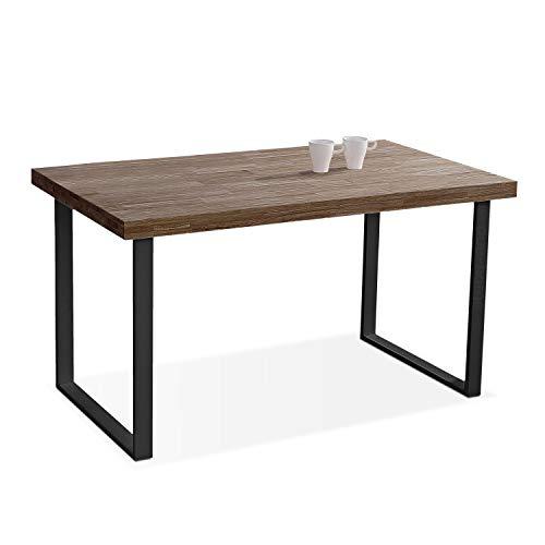 Adec - Natural, Mesa de Comedor, Mesa Salon o Cocina Fija Color Roble Boreal y Negro, Medidas: 140 cm (Largo) x 80 cm (Ancho) x 76,5 cm (Alto)