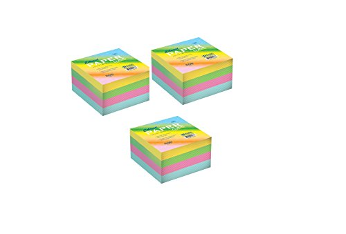 3 Pk, Bazic 500 Count 85 X 85mm Color Paper Cube - Cube Pad
