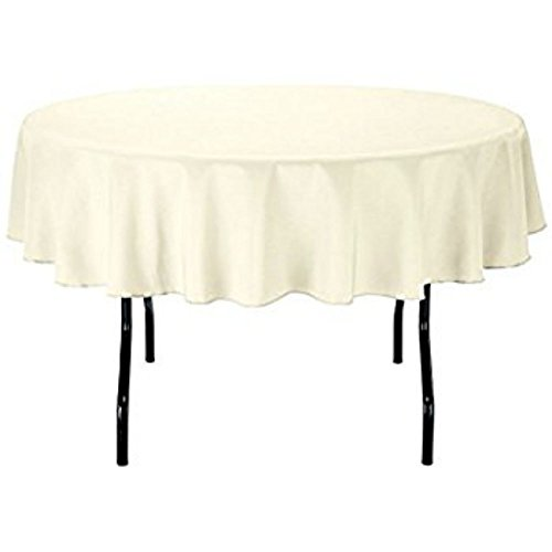 LinenTablecloth 70-Inch Round Polyester Tablecloth Ivory ()