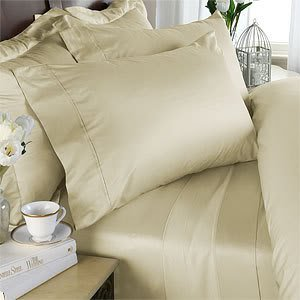 6pc ITALIAN 1500 Thread Count Egyptian Cotton Sheet Set with 4 PILLOW CASES, California King, Ivory Solid Silk California Bed Ensemble