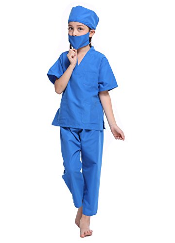 Cute Halloween Shirt Custom (CalorMixs America Kids Unisex Doctor Lab Coat & Childrens Doctor Scrub Set Role Play Costume Dress-Up For Christmas Halloween (4/6 (Kids Scrub), Ceil Blue))