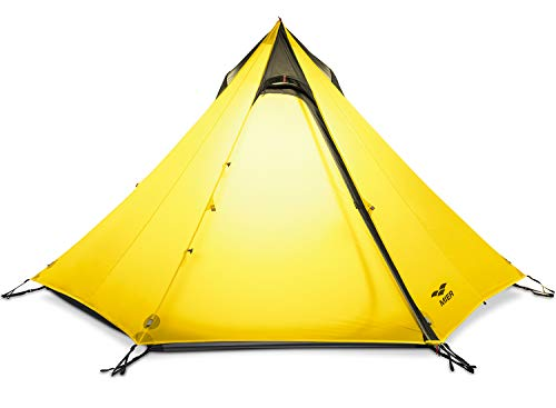 MIER 2-3 Person Ultralight Outdoor Camping Tent Waterproof Backpacking Pyramid Tent, 3 Season Quick Setup Teepee Tent Trekking Pole is NOT Included