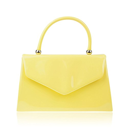 Xardi London Asa Superior patentes Mujer funda de novia bolsa de embrague señoras noche fiesta bolsos amarillo