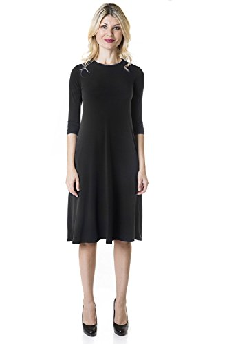 Esteez Womens Crew Neck Loose A-Line Dress with Pockets TAMMEE Black X-Small