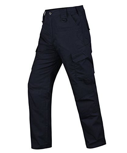 HARD LAND Men's Tactical Pants Waterproof Ripstop Work Cargo Pants with Elastic Waistband for Hunting Fishing Hiking Size 30×30 Navy Blue Ems Bdu Pants
