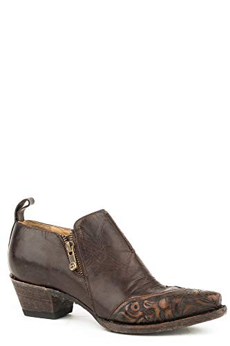 Stetson 3In Tooled Womens Brown Leather Phoebe Ankle Boots 8