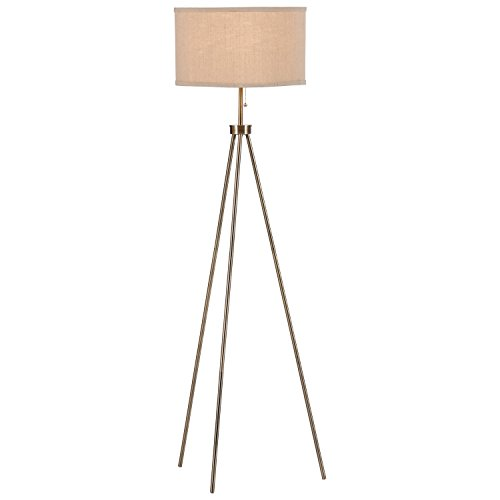 "Brass Floor Lamp Amazon: Rivet Minimalist Tripod Floor Lamp With Bulb, 15"" X 15"" X"