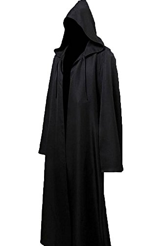 JOYSHOP Mens Halloween Witch Cosplay Robe Costume Adult Hooded Cloak Cape,Black,Small