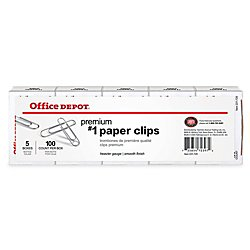 office depot brand paper clips, no. 1, silver, 100 clips per box, pack of 5 boxes