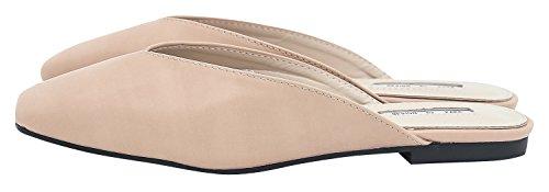 AnnaKastle Womens Vegan Leather V-Cut Flats Mule Slide Backless Shoes Beige