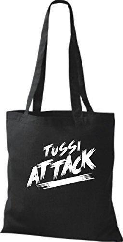 ShirtInStyle Bolsa de tela Bolsa de algodón Tussi Ataque - fucsia, 38 cm x 42 cm Negro