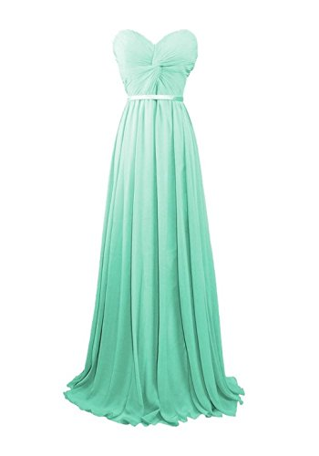 Sweetheart Evening Mint Long Dresses Gowns Bridal Annie's Women's Bridesmaid Chiffon f0wxEO7qP