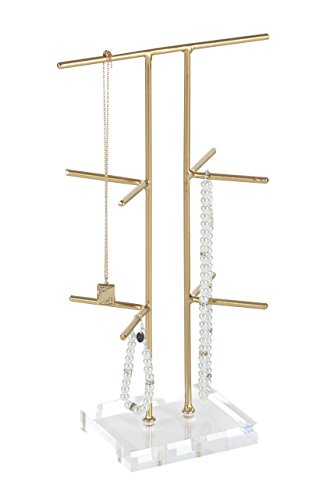 "Deco 79 56990 Iron and Acrylic Ten Hanger Jewelry Holder, 14"" x 8"", Gold/Clear"