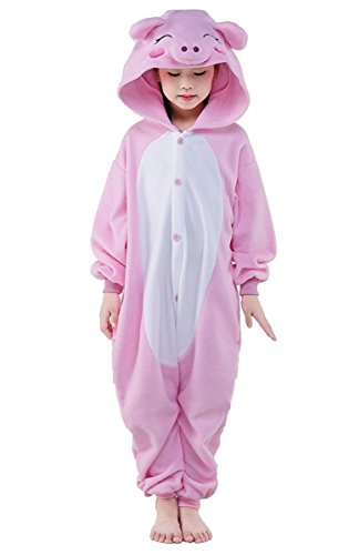 Goldtry Soft Flannel Kids Cosplay Costumes Animal Pajamas Cute Cartoon Jumpsuits (95#, Pink Pig)
