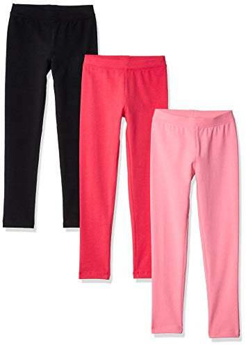 Amazon Essentials Girls' 3-Pack Leggings, pink/raspberry/black XL (12)