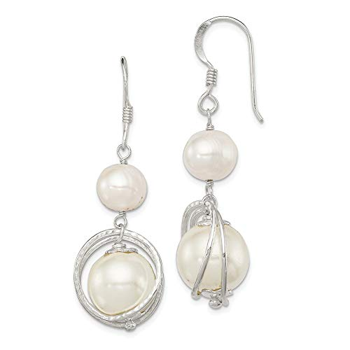 925 Sterling Silver White Freshwater Cultured Pearl Drop Dangle Chandelier Earrings Fine Jewelry Gifts For Women For Her