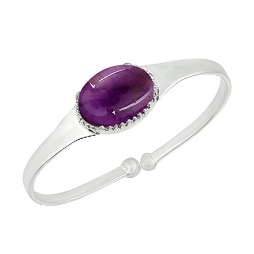 (Genuine Oval Shape Amethyst Cuff Bangle 925 Silver Plated Handmade Jewelry for Women Girls)