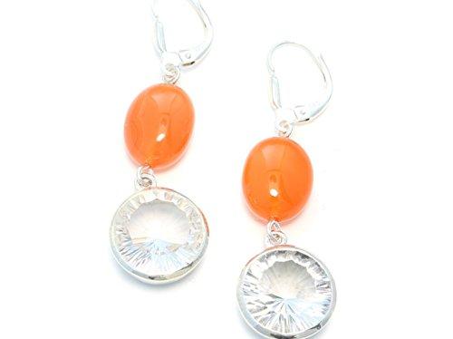 Boucles d'oreilles en argent avec Cornaline et cristal de roche