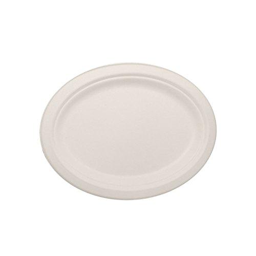 Lollicup KE-BPO108-1C Karat Earth Bagasse Plate, Oval, 10...