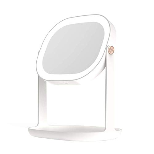 RMXMY Desktop Makeup Mirror with Light HD Fill Light Romantic Warm Creative Makeup Mirror Plastic Two-Color Optional LED Smart Princess Vanity Mirror (Color : White)