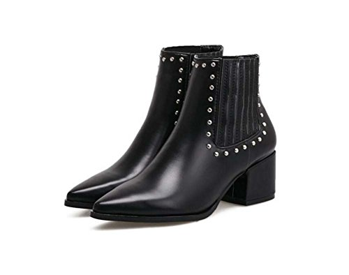 Pointed Chelsea Fashion Punk Rivets Boots Winter Boots 39 Black Knight 35 5 Boots Autumn Size 2017 Martin Chunkly Band Toe Women smooth 5cm Heel Elastic Boots Eu New And 8Oxatwqz