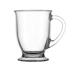 Anchor Hocking 16 Ounce Glass Cafe Mug, Set of 4