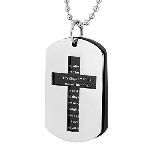 Open Cross with Lords Prayer Black Ion Plated Pendant Necklace Stainless Steel 24