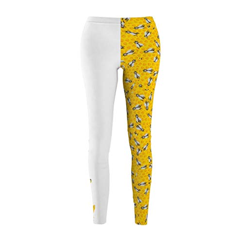 Fine Vintage Life Bey Hive Honey Comb Slay ONTRII Women's All Over Leggings - Two Tone White by Fine Vintage Life (Image #1)