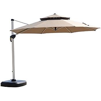 PURPLE LEAF 11 Feet Double Top Deluxe Patio Umbrella Offset Hanging Umbrella  Outdoor Market Umbrella Garden
