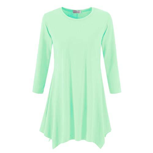 Topdress Women's Swing Tunic Tops 3/4 Sleeve Loose T-Shirt Dress Mint Green M ()