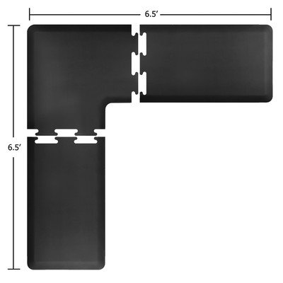 WellnessMats Puzzle Piece Collection 2 Foot Wide L Series Black Anti-Fatigue 7 x 7 Foot ()