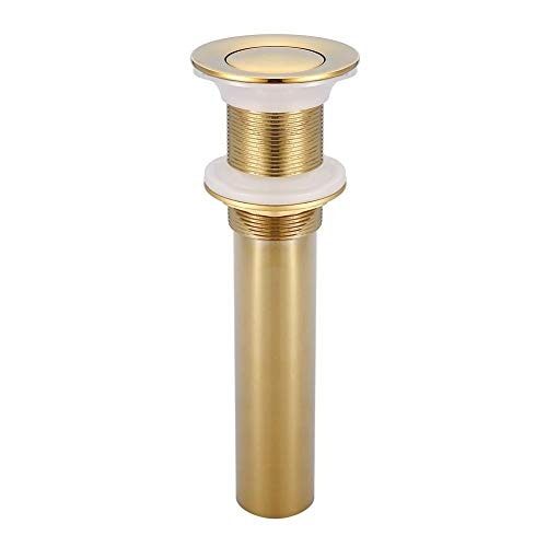 Pop Up Drain G1 1/4 Brass Bathroom Basin Sink Pop Up Drain Assembly Waste Stopper Non-Overflow for Kitchen Bath (Titanium Chrome Plating) (Pop Waste Up Assembly)