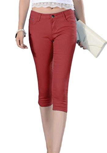 4 Casuales 26 Burgunderrot Capri Ropa Las 3 Botón Cortos Jeans Baja Slim Fit Verano color De Size Cintura Sólido Mujeres Color Pantalones ABqT7w
