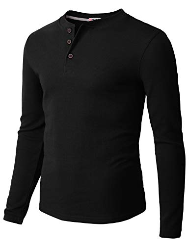 H2H Mens Casual Henley Long Sleeve Waffle Cotton T-Shirts Black US L/Asia XL (CMTTL0104)