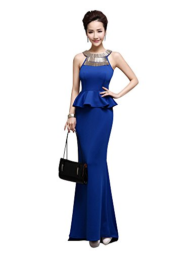Emily Tanks Sweep Beauty Kleider Zug Satin Bodycon Metallic Königsblau Peplum dnqCn1