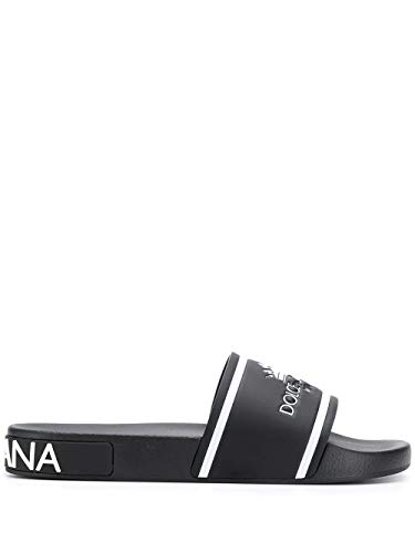 Men Dolce Gabbana Sandals - Dolce e Gabbana Men's Cs1646az57889690 Black Leather Sandals