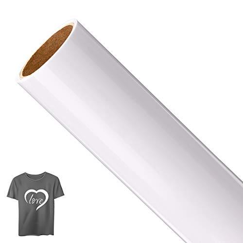 (AIEX White Heat Transfer Vinyl Roll Printable Iron On Vinyl Vinyl Heat Transfer for T-Shirt Printing Craft Sublimation(12 inch x 5 feet))