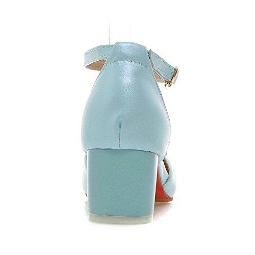 Adee Damen Bögen romanischen Stil Polyurethan Pumpen Schuhe, Blau - Hellblau - Größe: 38 EU